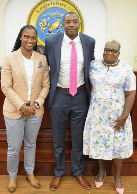 From left, Sen. Janelle Sarauw, Calvin White and White's mother, Barbara Parson Holder. (Photo by Barry Leerdam, Legislature of the U.S. Virgin Islands)