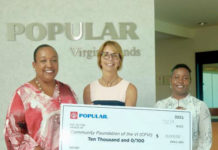From left: Oran C. Roebuck, senior vice president and division manager of Popular Virgin Islands Center: Barb Michaud, director of Cancer Support VI Right; and Jacquette Maynard, vice president and manager of VI Region Operations. (Submitted photo)