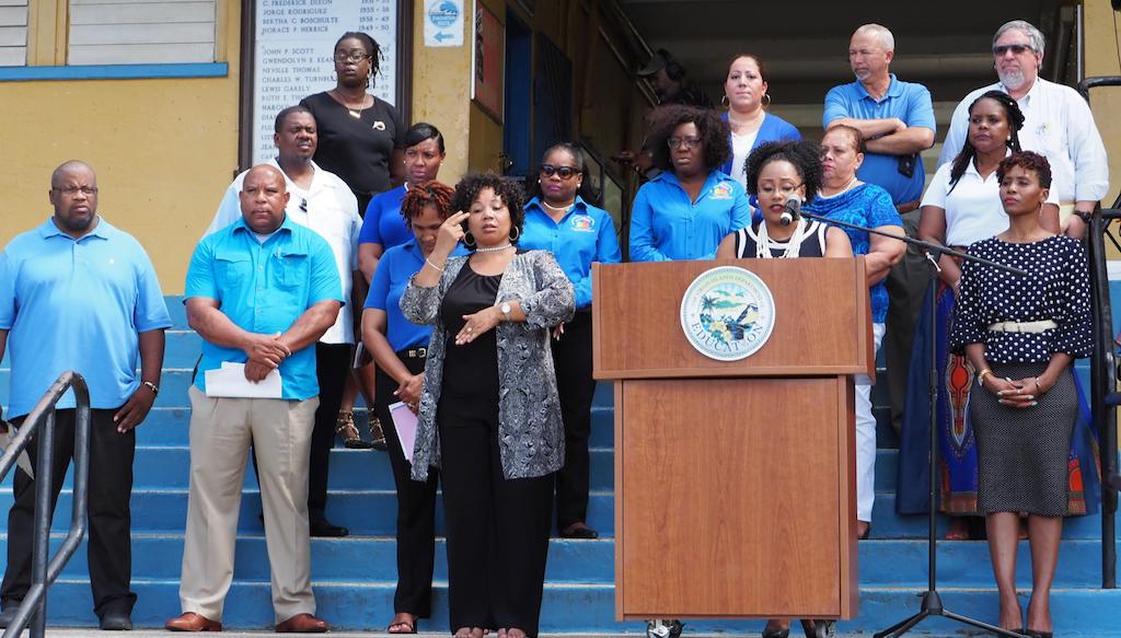 Administration for Education Department assembles on the steps of Charlotte Amalie High School to present the plan to open the 2019-2020 school year. Public schools in the Virgin Islands are scheduled to open Sept. 3. (Photo submitted by V.I. Department of Education)