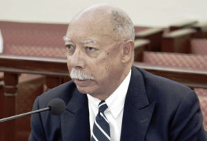 George Dudley testifies before the Senate Finance Committee. (Barry Leerdam, USVI Legislature)