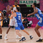 USVI point guard Walter Hodge lines up a shot against Puerto Rico. (Photo from USVI Olympic Committee)