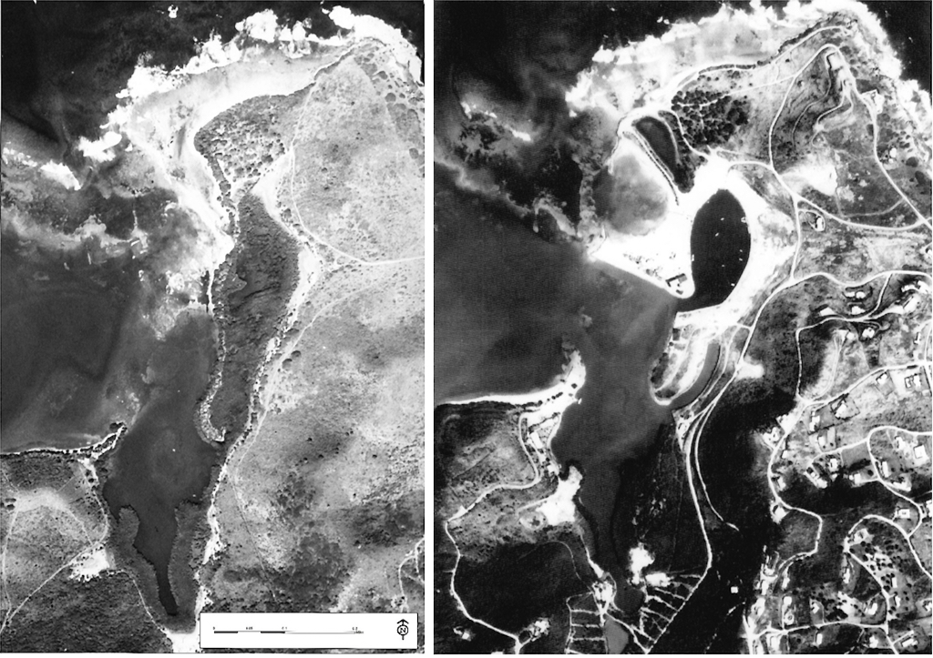 Aerial photos show – Left: Salt River Bay National Historical Park and Ecological Preserve in the 1950s, left, and – Right: The Salt River Bay Park after surveying and construction in the 1970s. (National Park Service photos)