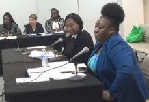Ernie Pennyfeather and Carla Benjamin of Human Services testify on Bill 33-0094. (Photo by Barry Leedam, USVI Legislature)
