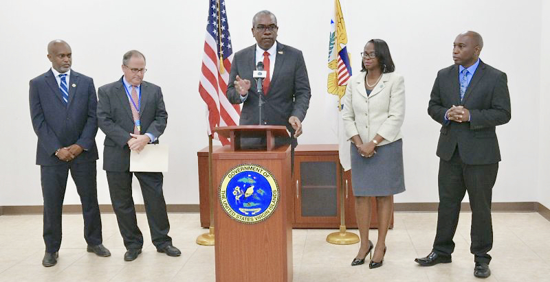 WAPA's Clinton Hedrington and Lawrence Kupfer join Gov. Albert Bryan Jr., Office of Disaster Recovery Executive Director Executive Director Adrienne L. Williams-Octalien and V.I. Housing Finance Authority Executive Director Daryl Griffith in announcing a proposed RFP for four new generators. (Photo provided by Government House)