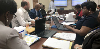 Port Authority board members and staff view presentation on the agency's Fiscal Year 2020 budget on Tuesday. (Source photo by Judi Shimel)