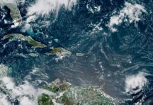Satellite photo shows Tropical Storm Dorian, lower right, advancing towards the Windward Islands. (NOAA photo)