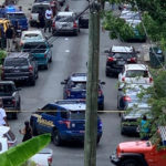 A photo in use on Facebook, What's App and other social media shows police responding to the Saturday morning shooting in Charlotte Amalie.