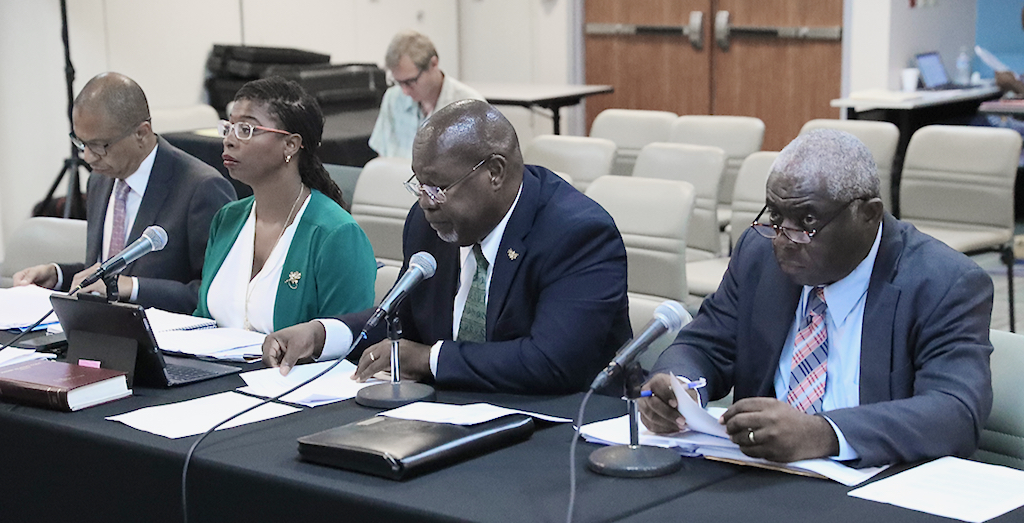 From left, Gary Halyard, Nesha Christian-Hendrickson, Gary Molloy, commissioner, and Elston George provide testimony to the senate about Department of Labor matters. (Photo by Barry Leerdam for the V.I. Legislature)