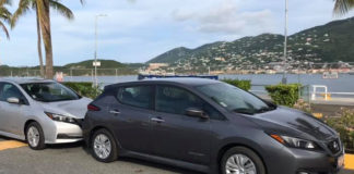 Nissan Leaf electric cars lined up in Charlotte Amalie for the start of the electric car Poker Run. (Photo from Drive Green VI Facebook page)