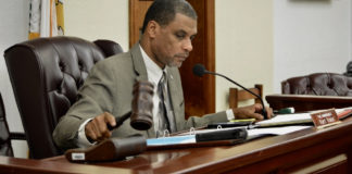 Sen. Kurt Vialet chairs the Senate Finance Committee hearing Thursday. (Photo by Barry Leerdam for the USVI Legislature)
