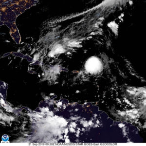 Satellite photo shows Hurricane Jerry passing just to the north of the Leeward Islands. (NOAA photo)