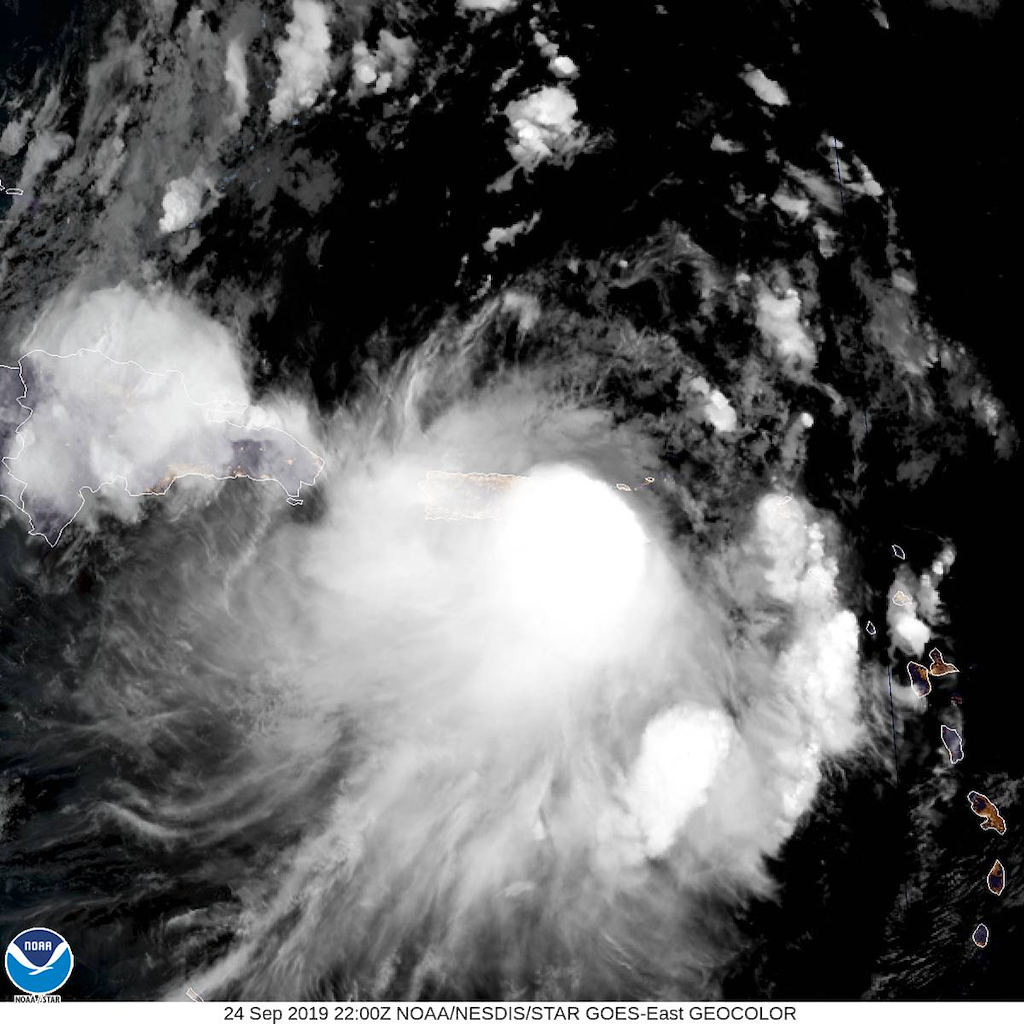 6 p.m. satellite photo shows Tropical Storm Karen directly over St. Croix and heading north. (NOAA photo)