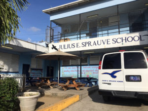 Julius E. Sprauve School, the site of a not-quite-watertight hurricane shelter. (Source photo by Amy Roberts)
