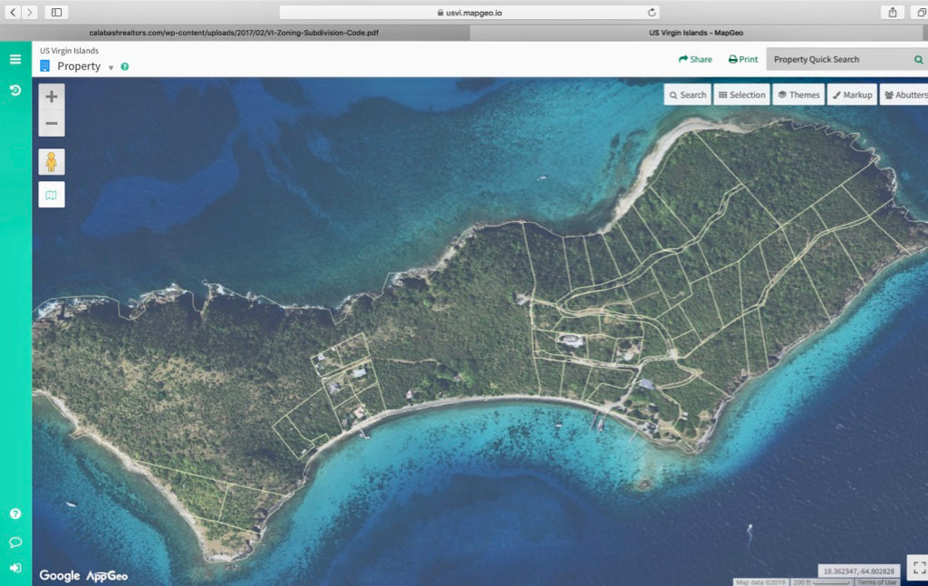 Aerial view of Lovango Cay shows lots on the small island. (Image from Map Geo)