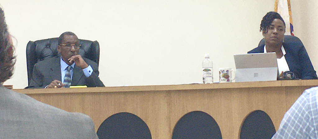 Casino Control Commissioners Usie Richards and Stacy Bourne listen to testimony. (Source photo by Susan Ellis)