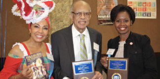 Golden Bryan, Clenance, and Smith Baugh - From left, Virgin Islanders Angela Golden Bryan, Kervin Clenance, and Germaine Smith-Baugh pose for a photo after participating in a United Nations Association of Broward County luncheon Sunday. (Photo by Colleen Brown)