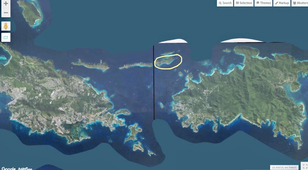 Photo shows location of Lovango Cay between STT and STJ. (Image by IMap Geo)