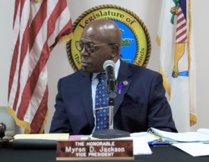 Sen. Myron Jackson, chairman of the Senate Committee on Culture, Historic Preservation, and Aging, listens to testimony during Friday's hearing on St. Croix. (Photo by Bernard Matthew)