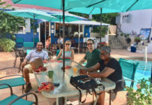 Peter Chapman, Corina Marks, Ryan Flegal and Aminah Saleem enjoy Sunday brunch at the Sugar Apple. (Source photo by Susdan Ellis)