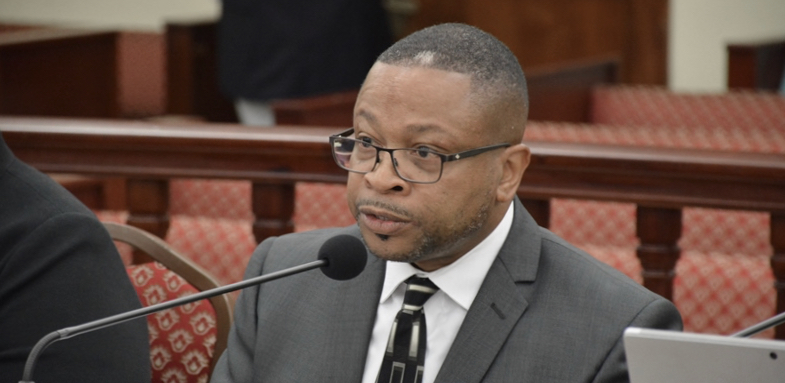 Adrian Taylor, acting executive director V.I. Waste Management Authority, told senators why garbage has piled up at bin sites. (File photo by Barry Leerdam for the V.I. Legislature)