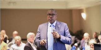 Gov. Albert Bryan Jr. discusses his plan to bolster the Territory's economy with a sustainable and robust workforce at his workforce development summit Wednesday on St. Croix. (Photo submitted by Government House)