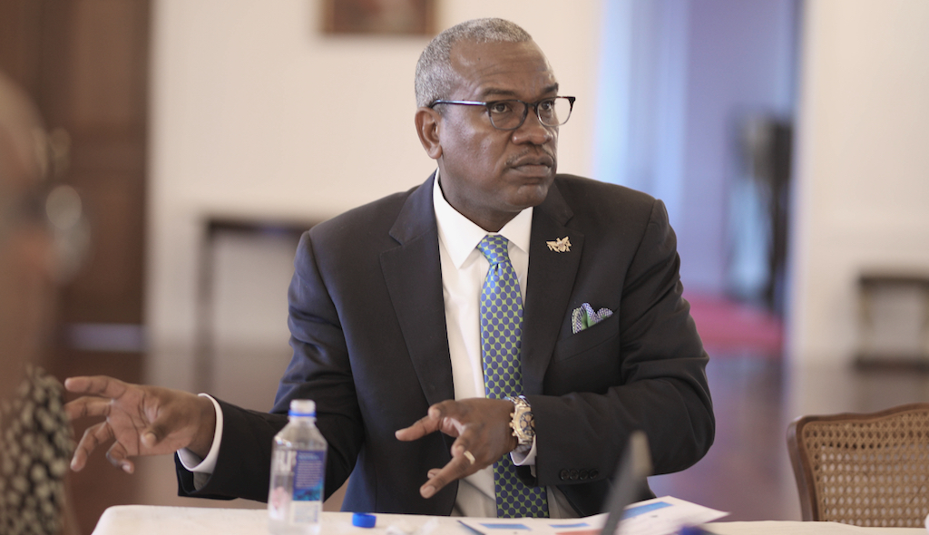 Gov. Albert Bryan Jr. discusses his administration's priorities toward reducing property and homelessness during a meeting with members of the Virgin Islands Interagency Council on Homelessness Tuesday in Government House on St. Croix. (Government House photo)
