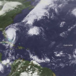 Satellite photo from Sept. 3 shows, from left, Fernand, Doian and Gabrielle. (Photo from NOAA)