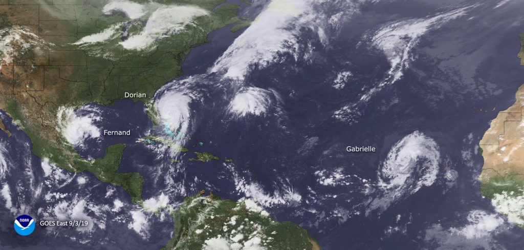 Satellite photo from Sept. 3 shows, from left, Fernand, Dorian and Gabrielle. (Photo from NOAA)