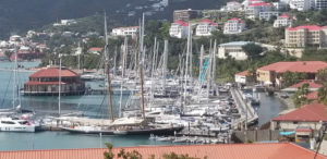 The yachts gathered at Yacht Haven form a forest of masts. (Photo by Walter Bostwick)