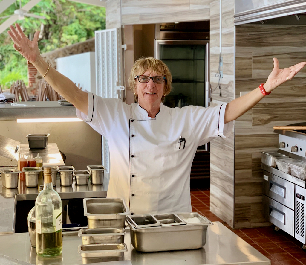 Proprietor Patricia LaCorte expresses delight with Oceana's spacious open concept kitchen. (Photo provided by Oceana Restaurant and Bistro)