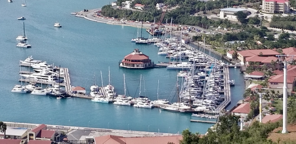 Yachts fill the Yacht Haven Dock for the 2019 USVI Charter Yacht Show. (Photo by Walter Bostwick)
