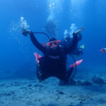 Courtney Robenelt leads scuba divers at Wreck Cove, Buck Island. (Source photo by Dave MacVean)