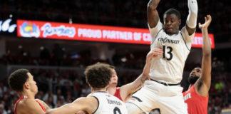 Tre Scott sweeps the glass clean for the University of Cincinnati Bearcats, averaging 10.3 rebounds a game. (Photo from the University of Cincinnati Athletic Department)