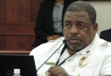 Acting Deputy Chief of Police Operations David Cannonier testifies Monday on two traffic bills. (V.I. Legislature photo)