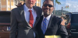 Defense attorney Gordon Rhea, left, and defendant Amos Carty outside the courthouse on St. Thomas Friday. (Source photo by Judi Shimel)