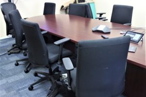 The conference table on St. Thomas is all ready for a teleconference with the St. Croix members of the Horse Racing Commission, but the St, Thomas commissioners are no-show. (Source photo by Bethaney Lee)