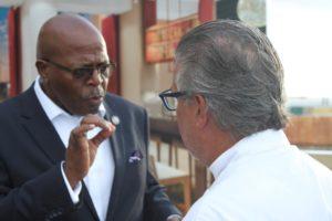 Sen. Myron Jackson talks with Chef Richard Sandoval. (Source photo by Bethaney Lee)