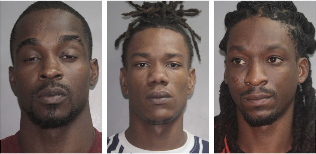 From left, Lejaurne Sonson, John Prince Jr. and Deshaun Stephen face charges following their arrest Saturday. (VIPD photos)