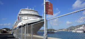 A cruise ship is tied up at the WICO dock in St. Thomas.. (Source photo by Dave MacVean)