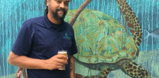 Nico Cherubin has a Leatherback with the brewery's symbol – the leatherback. (Source photo Susan Ellis).