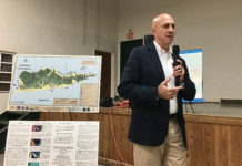 Vitema director Daryl Jaschen hosts a town hall meeting at Canegata Recreation Complex. (Source photo by Susan Ellis)