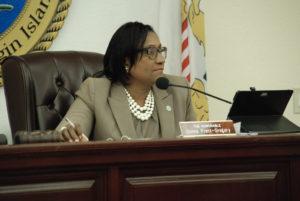 Sen. Donna Frett-Gregory leads Tuesday's Committee on Education and Workforce Development meeting. (V.I. Legislature photo)