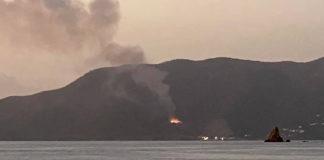 Dump fire on Tortola as seen from Cooper Island on Feb. 3 2020. (Photo provided by Matt Mullen)