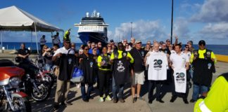 The ETA Motorcycles Cruises group in Frederksted on Wednesday. (Photo courtesy of Mark Finch)