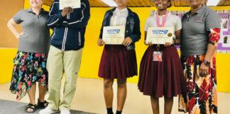 From left, Central High teacher Amber Aragi, Eugene Jah'ky, first-place winner Quishylah Navaro, Aniya Celeltin, and Teacher Justina Joseph. (Submitted photo)