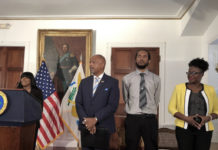 At a news conference where the territory street naming project was discussed, Shayla Solomon introduces Lt. Gov. Tregenza Roach, SIA Director Chris George and director of Corporations and Trademarks Denise Johannes. (Source photo by Susan Ellis)