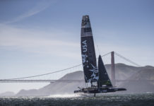 he United States SailGP team in action on their second day of practice Race 2 Season 1 SailGP event in San Francisco, California, United States. 23 April 2019. (Photo: Lloyd Images for SailGP, Handout image supplied by SailGP)