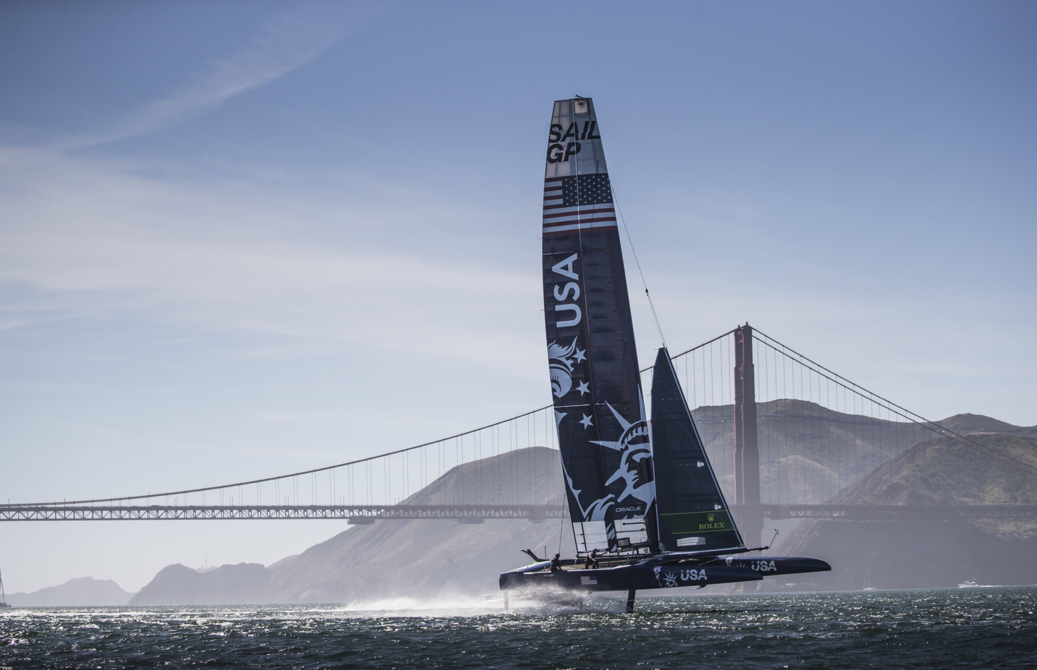 he United States SailGP team in action on their second day of practice Race 2 Season 1 SailGP event in San Francisco, California, United States. 23 April 2019. Photo: Lloyd Images for SailGP. (Handout image supplied by SailGP)