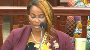 Winnie Testamark, director of the Bureau of Corrections, testifies before a Senate committee Thursday. (V.I. Legislature photo)