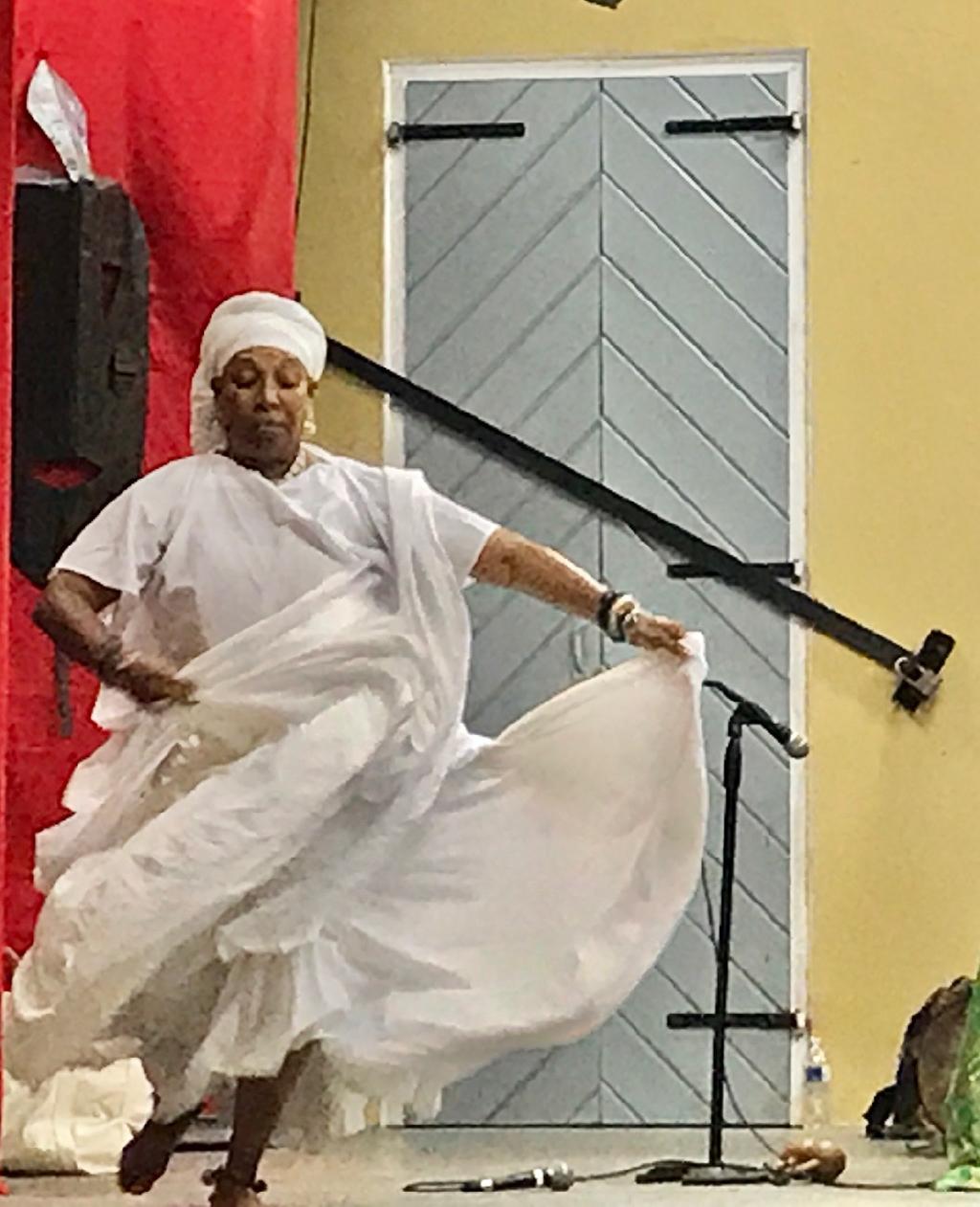 Chenzira Kahina Davis dances the Bamboula. (Source photo by Elisa McKay)